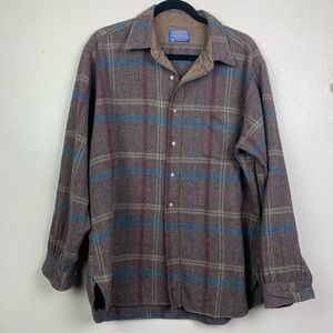 Pendleton Plaid Virgin Wool Button Down Shirt XL